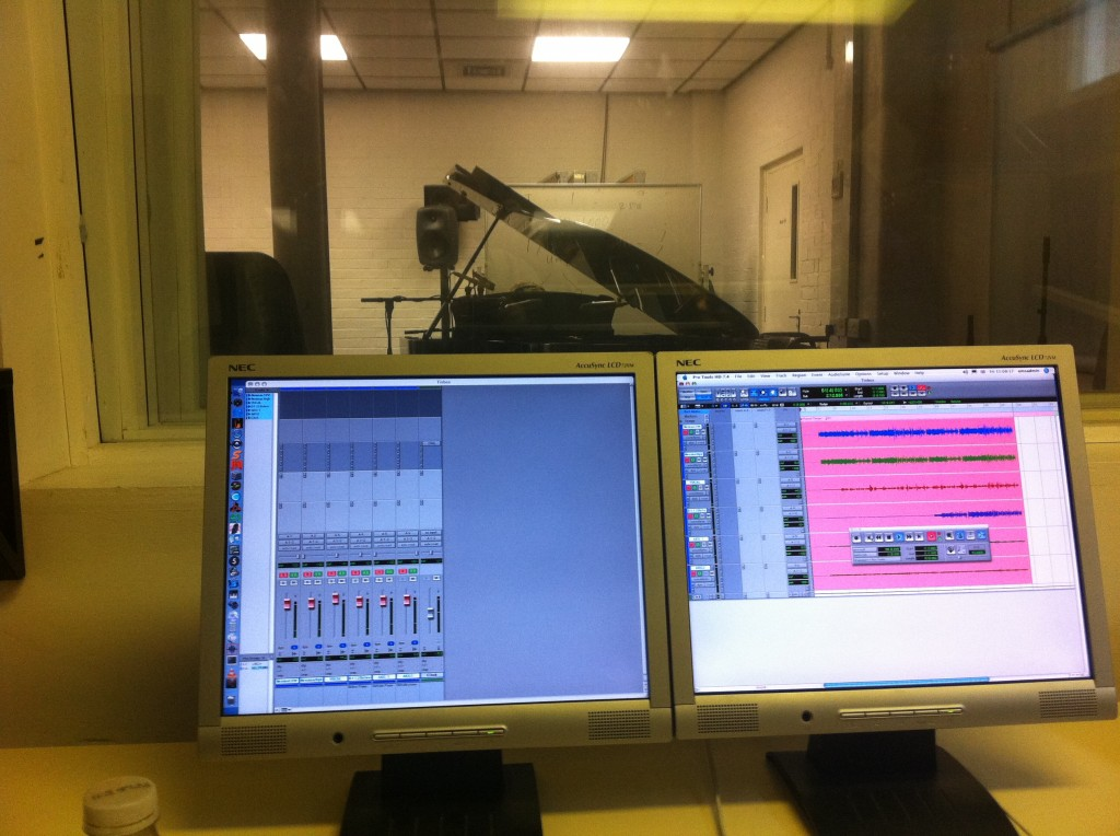 Recording piano at Goldsmiths university