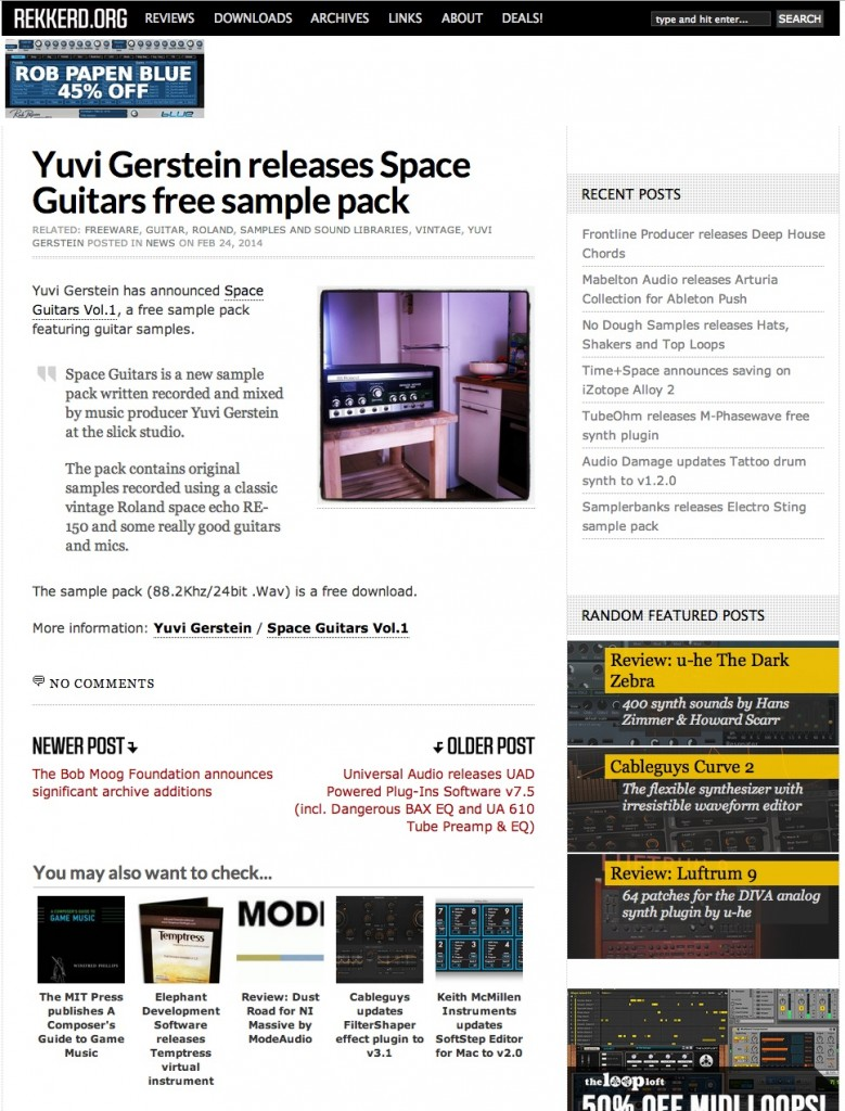 Yuvi Gerstein Space Guitars sample pack featured on Rekkerd.org